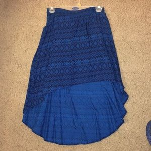 High low blue Aztec print skirt